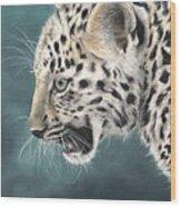 Amur Leopard Cub Wood Print