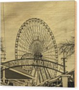 Amusement Park Vintage Wood Print