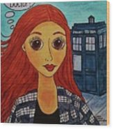 Amy Pond Where's The Doctor Wood Print