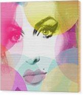 Amy Portrait Pink Yellow  Wood Print