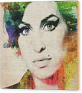 Amy Winehouse Colorful Portrait Wood Print