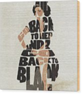 Amy Winehouse Typography Art Wood Print
