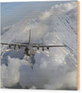 An Ac-130u Gunship Jettisons Flares Wood Print