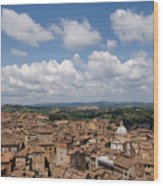 An Aerial Of Sienna, Tuscany Wood Print