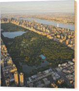 An Aerial View Of Central Park Wood Print by Michael S. Yamashita