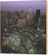 An Aerial View Of Ground Zero Wood Print