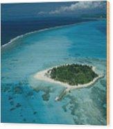 An Aerial View Of Saipan Island Wood Print