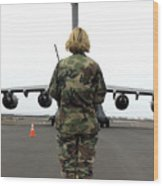 An Airfield Manager Greets An Arriving Wood Print