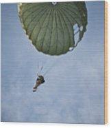 An Airman Descends Through The Sky Wood Print