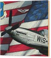 An American F-51 Ang Wood Print
