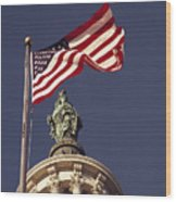 An American Flag And The Statue Wood Print
