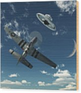 An American P-51 Mustang Gives Chase Wood Print