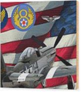 An American P-51d Pof Wood Print