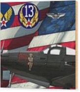 An American P-63 Pof Wood Print