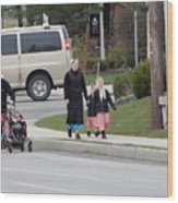 An Amish Family Going For A Walk Wood Print