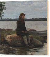 An Angler Ca. 1890 Wood Print