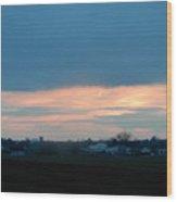 An April Sunset Over An Amish Farm Wood Print
