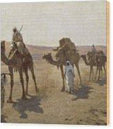 An Arab Caravan Wood Print