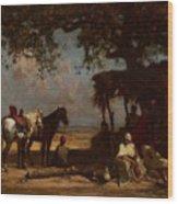 An Arab Encampment Wood Print by Gustave Guillaumet