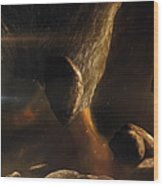 An Asteroid Field Next To An Earth-like Wood Print