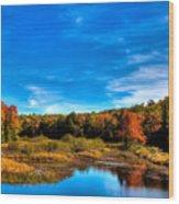 An Autumn Day At The Green Bridge Wood Print