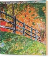 An Autumn Stroll in the Woods Wood Print
