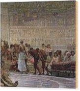 An Egyptian Feast Wood Print by Edwin Longsden Long