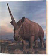 An Elasmotherium Grazing Wood Print