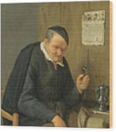 An Elderly Man Seated Holding A Wineglass Wood Print