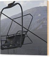 An Empty Chair Lift At A Ski Resort Wood Print by Tim Laman