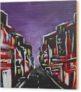 An Empty Street At 3 A.m. Wood Print