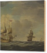 An English Flagship Under Easy Sail In A Moderate Breeze Wood Print