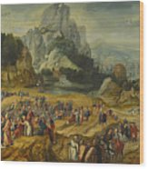 An Extensive Landscape With The Preaching Of Saint John The Baptist And The Baptism Of Christ Wood Print