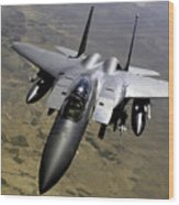 An F-15e Strike Eagle Aircraft Wood Print