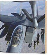 An F-15e Strike Eagle Refuels Over Iraq Wood Print