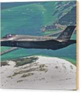 An F-35 Lightning II Flies Over Destin Wood Print
