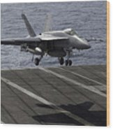 An Fa-18e Super Hornet Prepares To Land Wood Print