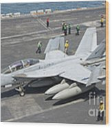 An Fa-18f Super Hornet On The Flight Wood Print