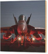 An Fa-18f Super Hornet Parked Wood Print