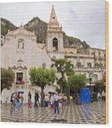 An Iffy Day In Taormina Wood Print