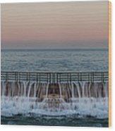 An Imagined Symmetrical Seawall As A Wave Tops It Wood Print