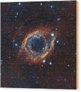 A Look In Infrared At The Helix Nebula Wood Print