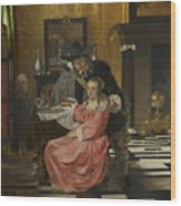 An Interior With A Woman Refusing A Glass Of Wine Wood Print