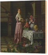 An Interior With Fruit And Flowers Wood Print