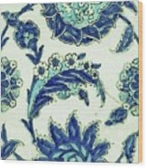 An Iznik Blue And White Pottery Tile, Turkey, 17th Century, By Adam Asar, No 18b Wood Print