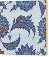 An Iznik Polychrome Pottery Tile, Turkey, Circa 1570-85, By Adam Asar, No 18 Wood Print