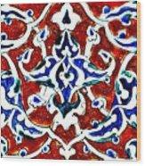 An Iznik Polychrome Pottery Tile, Turkey Circa 1580, By Adam Asar, No 18b Wood Print