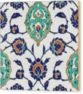 An Iznik Polychrome Tile, Turkey, Circa 1575, By Adam Asar, No 23h Wood Print