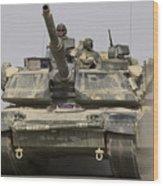 An M1a1 Abrams Tank Heading Wood Print