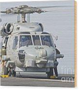 An Mh-60r Seahawk Embarked Aboard Uss Wood Print